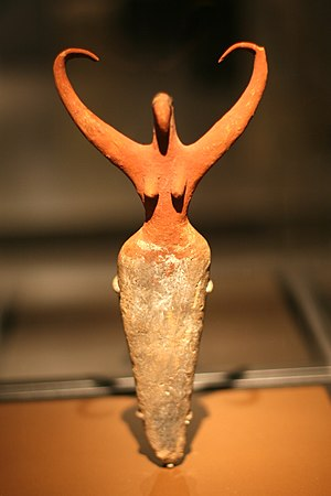 Naqada culture - Female figure with bird traits. Naqada II period, 3500-3400 BCE. Brooklyn Museum