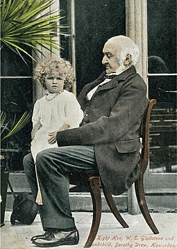 Gladstone at Hawarden with his grandchild Dorothy Drew (1890-1982), daughter of Mary Gladstone W E Gladstone and Dorothy Drew.jpg