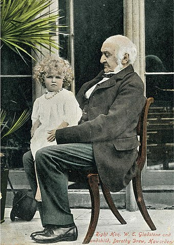 Gladstone at Hawarden with his grandchild Dorothy Drew, daughter of Mary Gladstone W E Gladstone and Dorothy Drew.jpg