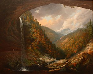 William Guy Wall - Cauterskill Falls on the Catskill Mountains, Taken from under the Cavern, by William Guy Wall, 1826-27, Honolulu Museum of Art