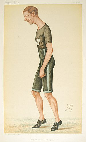 "Walter George (athlete) - ""The Champion of Champions"". Caricature by Ape published in Vanity Fair in 1884."