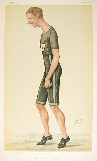 """Walter George (athlete) - """"The Champion of Champions"""". Caricature by Ape published in Vanity Fair in 1884."""