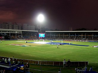 Brabourne Stadium - Rain disrupts the 2006 Champions Trophy final under lights at the ground