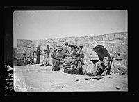 War-like scene on roof of Tower of David, mounted machine guns - tele. LOC matpc.18825.jpg