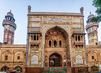 Wazir Khan Mosque - The mosque's entryway features a large iwan that leads to the Wazir Khan Chowk, a small town square.