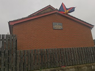 Ulster nationalism - Ulster nationalist flag above a plaque in memory of Wesley Somerville in Moygashel