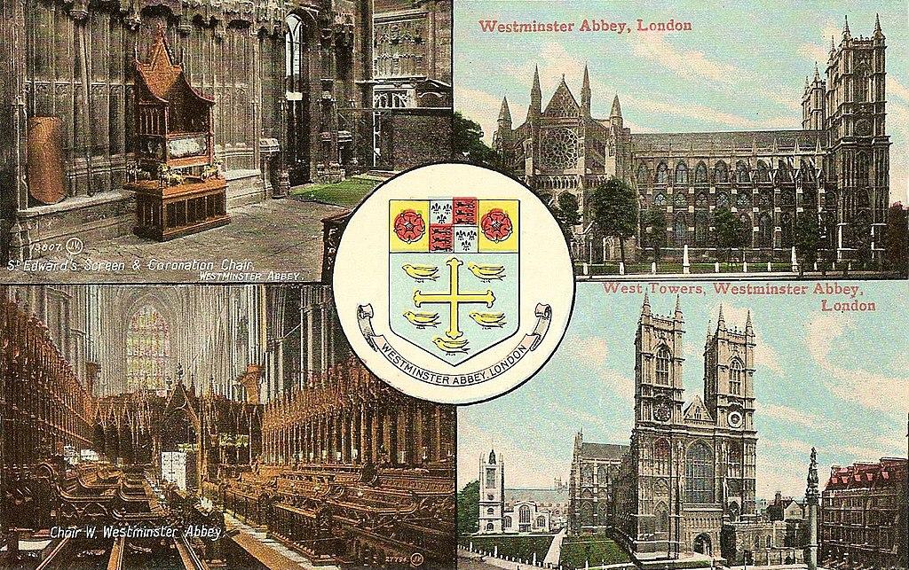 Westminster Abbey sur une belle carte postale de Londres du début 1900.