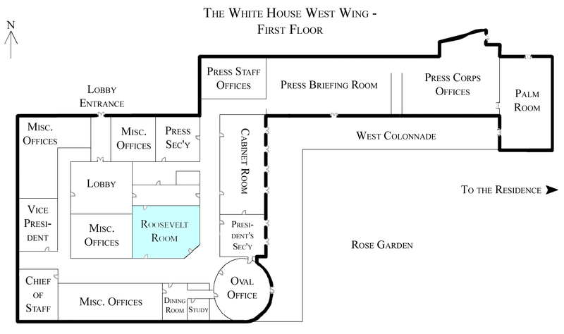 File:White House West Wing - 1st Floor with the Roosevelt Room highlighted.png