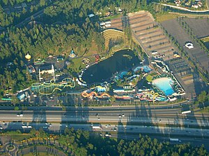 Wild Waves Theme Park - Aerial view, with the large Wave Pool visible to the right