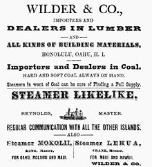ad for lumber, coal, and steamship service