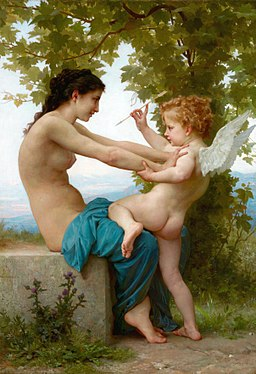William-Adolphe Bouguereau (1825-1905) - A Young Girl Defending Herself Against Eros (1880)