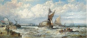 William Anslow Thornley - Hay barges and other shipping in a stiff breeze off Dover.jpg