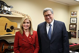 Blackburn with William Barr in 2019 William Barr and Marsha Blackburn.jpg