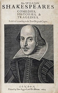 <i>First Folio</i> 1623 collection of William Shakespeares plays
