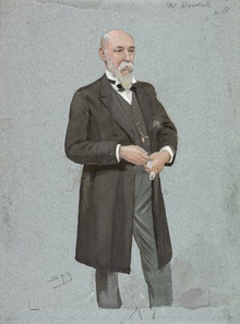Caricature of William Woodall, MP for Hanley at the time of the county plan. The drawing is by the artist Leslie Ward and was drawn for the magazine Vanity Fair in 1896