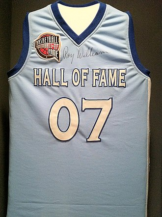 Roy Williams (coach) - Basketball Hall of Fame Jersey on display at the North Carolina Sport Hall of Fame