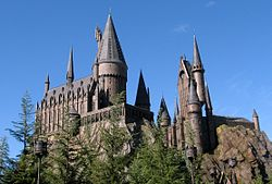 Looking up at the replica of Hogwarts Castle which encloses the Harry Potter and the Forbidden Journey ride.