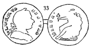 Blacksmith token - Wood's illustration of Wood 33, with indistinct legends for the tops of the letters along the circumference of the obverse and reverse.