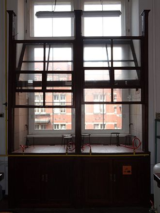 Fume hood - Wooden fume hood at Gdansk University of Technology (2016 photo of 1904 installation still in use)