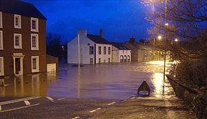 2009 Great Britain and Ireland floods - The approach to Calva Bridge, Workington, 20 November 2009