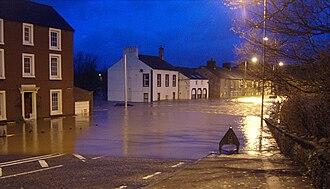 2009 Great Britain and Ireland floods - The approach to Calva Bridge, Workington, 20 November 2009