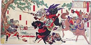 Battle of Awazu - Tomoe Gozen defeats Uchida Ieyoshi and Hatakeyama Shigetada.