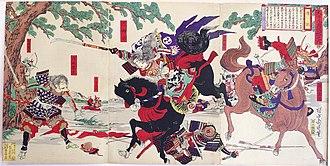 Hatakeyama Shigetada - Tomoe Gozen with Uchida Ieyoshi and Hatakeyama no Shigetada. Woodblock print by Yōshū Chikanobu, 1899
