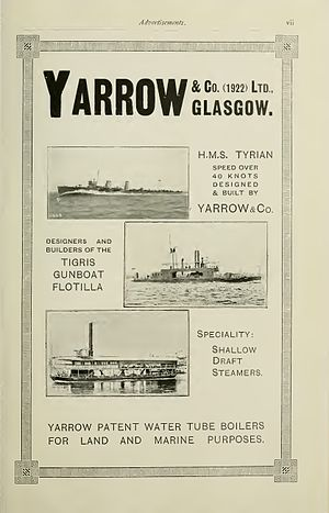 Yarrow Shipbuilders - Image: Yarrow advertisement Brasseys 1923