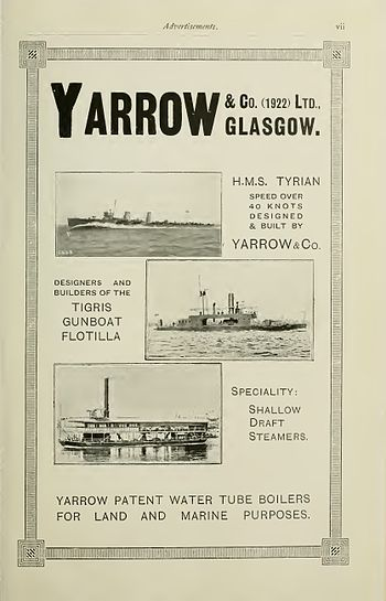 English: Advertisement for Yarrow Shipbuilders...