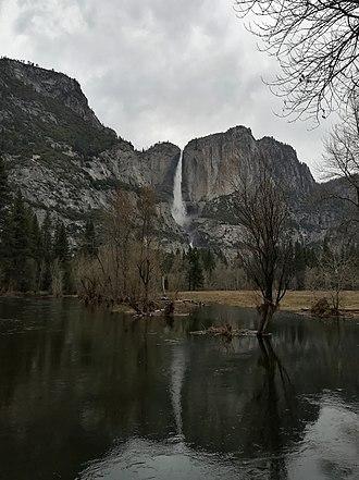 Yosemite Falls - Upper Yosemite Fall Upper Falls from the Swinging Bridge in Yosemite Valley in spring