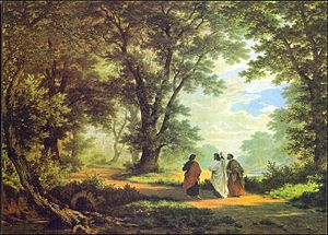 Abendlied (Rheinberger) - Gang nach Emmaus, painting by Robert Zünd, 1877
