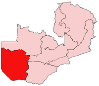 Map of Zambia showing the Western Province