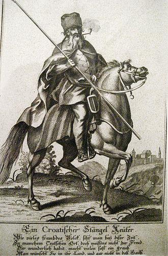 Croats (military unit) - 17th-century depiction of a Croatian cavalryman (Ein Croatischer Stängel Reuter)