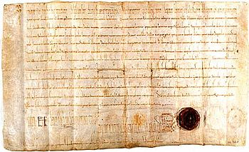 Founding document of the Fraumünster Abbey in the State Archives of the Canton of Zurich