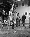 """""""Štange"""" za obešanje zaklanih telet in svinj v Trešičah 1951.jpg"""