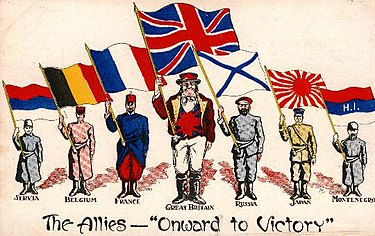 "A postcard from 1916 showing national personifications of some of the Allies of World War I, each holding a national flag ""Onward to Victory"", World War I Allied propaganda postcard.jpg"