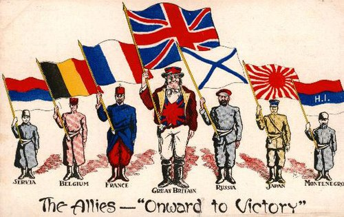A postcard from 1916 showing national personifications of some of the Allies of World War I, each holding a national flag
