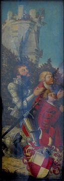 'Portrait of a Knight and his Two Sons' by Lucas Cranach the Elder, Hermitage.JPG