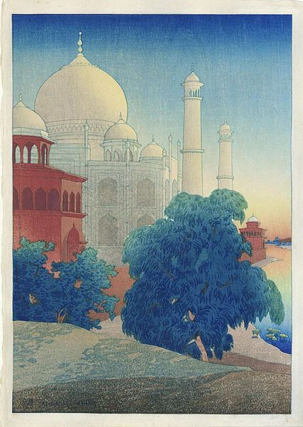 File:'Taj Mahal, Sunset', woodblock by Charles W. Bartlett, 1920.jpg