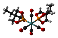 Ball-and-stick model of the bis(trimethylolpropane phosphite)molybdenum tetracarbonyl complex