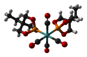 Trimethylolpropane phosphite - Ball-and-stick model of the bis(trimethylolpropane phosphite)molybdenum tetracarbonyl complex