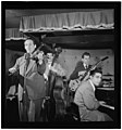 (Portrait of Sam Hall Kaplan, Frenchy Cauette, Chuck Wayne, and Deryk Sampson, Three Deuces, New York, N.Y., ca. June 1947) (LOC) (5354795866).jpg