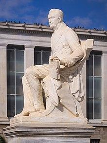 Άγαλμα του Ιωάννη Καποδίστρια στην οδό Πανεπιστημίου, φιλοτεχνημένο από τον Γεώργιο Μπονάνο