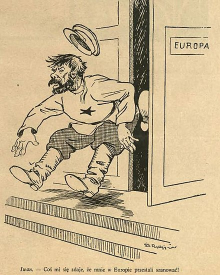 "A political cartoon from Poland depicting the Soviet Union in the form of ""Ivan"" being kicked out of Europe: ""It seems Europe has stopped respecting me"" Pol'sha pokazala Ivanu ego mesto.jpg"