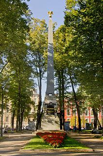 Rumyantsev Obelisk Monument in Saint Petersburg