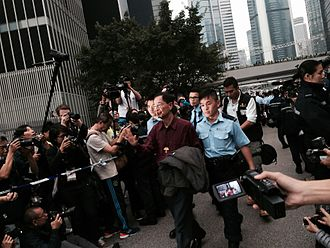 Martin Lee - Martin Lee being arrested on the last day of the 2014 Hong Kong protests.