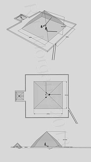 Bent Pyramid - Isometric, plan and elevation images of the Bent Pyramid Complex taken from a 3d model