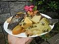 0099Nilagang repolyo, petsay Tagalog, kamote, patatas, kamatis at Pritong Dalag (Bulig) sa tanglad 08.jpg