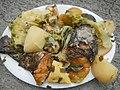 0099Nilagang repolyo, petsay Tagalog, kamote, patatas, kamatis at Pritong Dalag (Bulig) sa tanglad 26.jpg