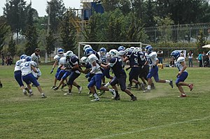 Youth sports - Game of one of the youth divisions of the Borregos Salvages American football associated with Monterrey Institute of Technology and Higher Education, Mexico City.